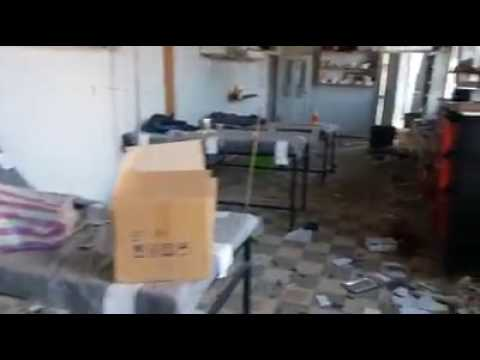 Damascus suburbs- Madaya: destruction of the medical point in regime barrel bombs shelling 5 11 2016