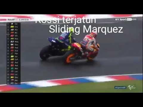 Moto GP Argentina 2018 ROSSI CRASH Sliding marquez
