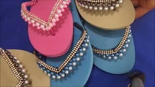 sandália decorada com strass e pérolas muito fácil tutorial cida reis