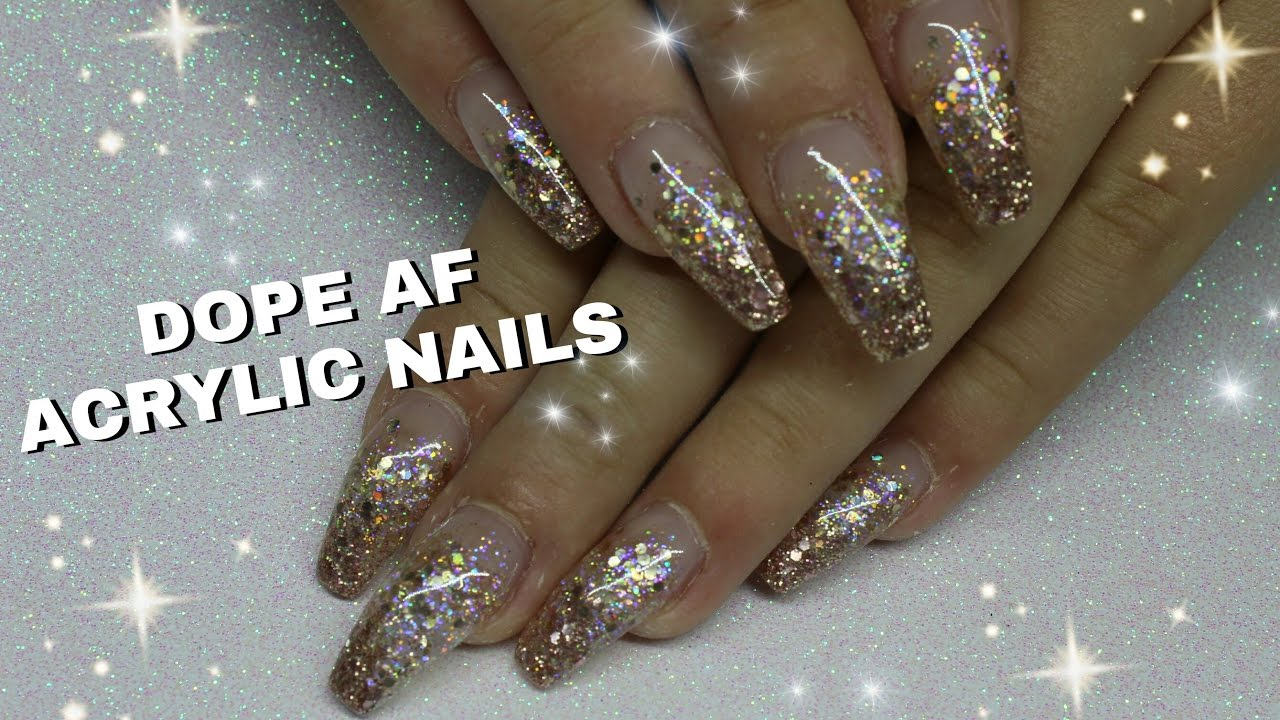 how to rose gold glitter gradient acrylic nails youtube