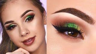 Brown Smokey Eye & Pop of Green | Makeup Tutorial