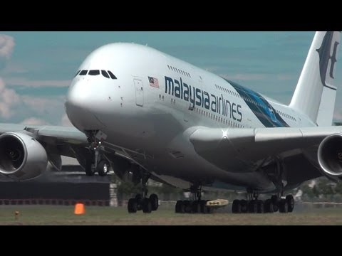 MALAYSIA AIRLINES AIRBUS A380 at FARNBOROUGH 2012 & A380 ON FLOODED RUNWAY (airshowvision)