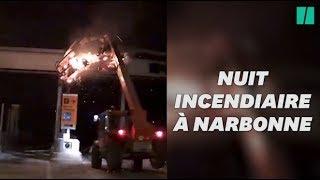 Un péage incendié à Narbonne, en marge d'un rassemblement de gilets jaunes