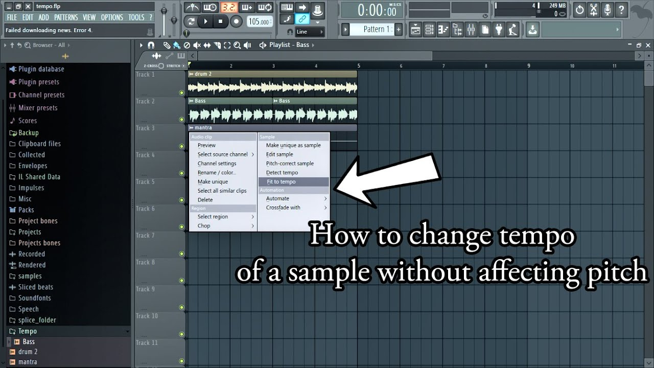 [FL Studio 12 ] How to change the tempo of a sample without affecting pitch - YouTube