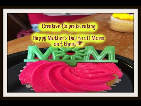 Mothers Day Creative Cupcake eating