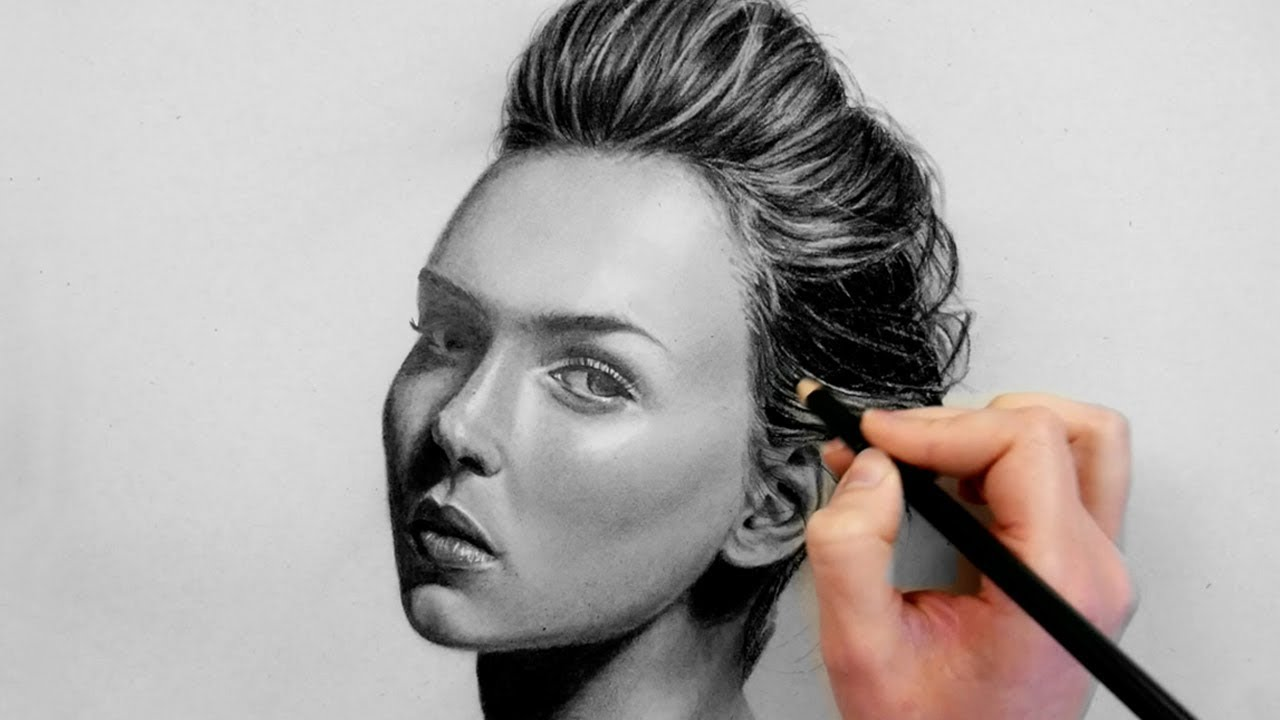 Portrait drawing with graphite and charcoal pencil emmy kalia