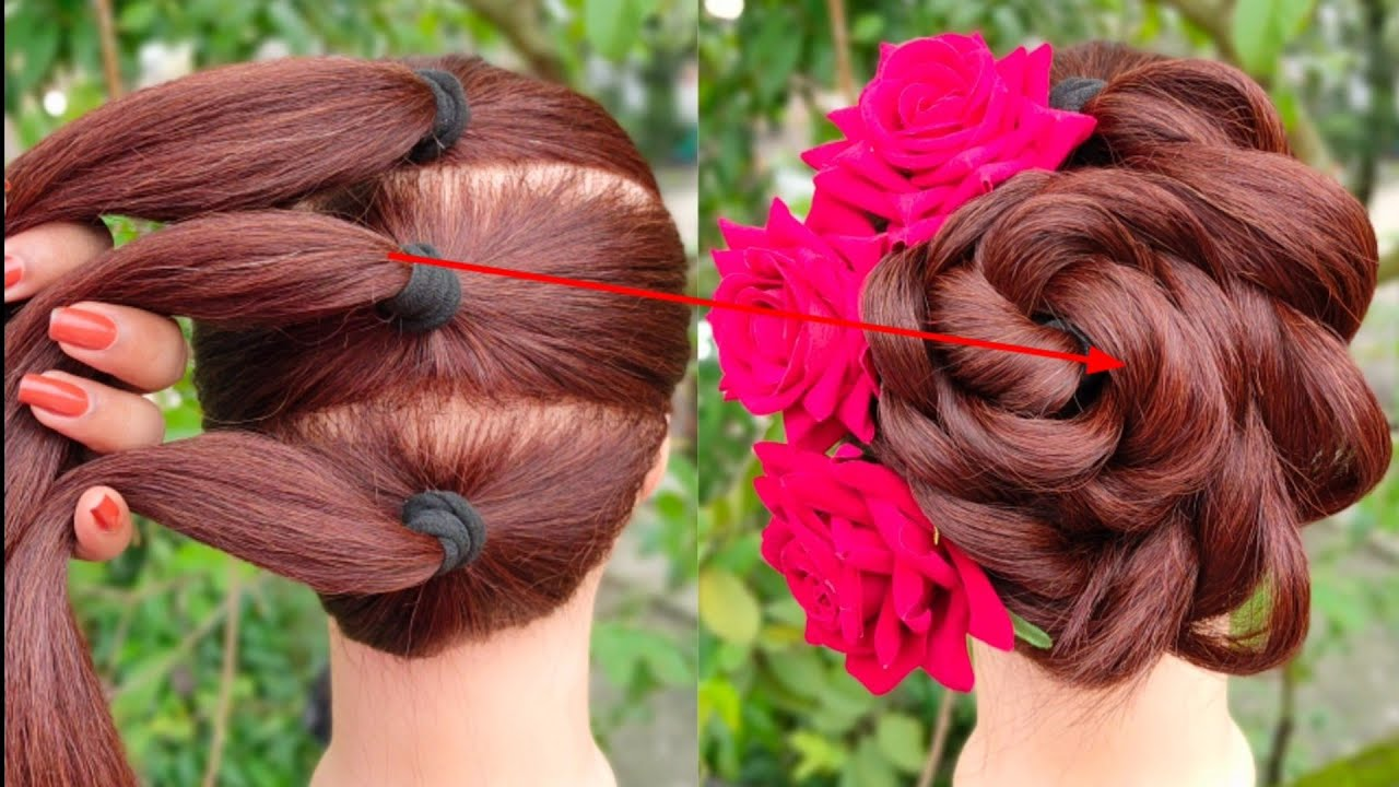 beautiful flower bun hairstyle for gown | easy hairstyle | trending hairstyle | hair style girl ||