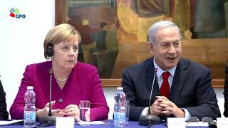 PM Netanyahu and German Chancellor Merkel attend innovation exhibit and meet businesspeople