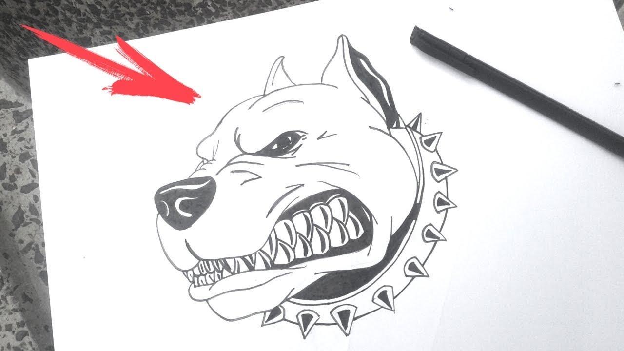 Como Desenhar Um Cachorro Pitbull Bravo Desenhos Faceis