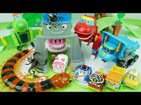 Thumbnail: Go Go Dino, Rescue Robocar Poli, Defeat Monster Spider and Giant Centipede~! 고고 다이노, 괴물 지네에게 폴리를 구해줘