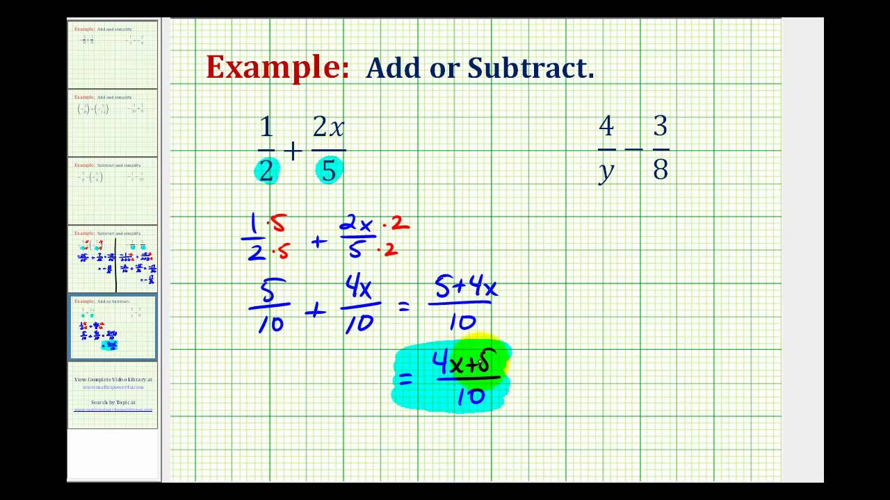 Ex: Add and Subtract Fractions Containing Variables - YouTube