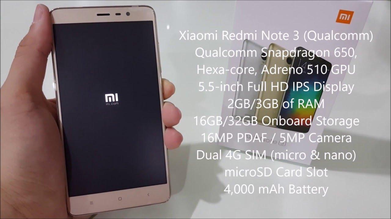 Unboxing Xiaomi Redmi Note 3 Qualcomm Youtube Ram 2 16 Gb