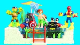 Imaginext Batman & Playskool Heroes Spider-man & Joey Squirt Joker At Playmobil Pool Party Part 2