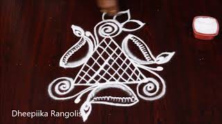 very easy diya kolam design without dots * deepam muggulu designs * latest rangoli designs