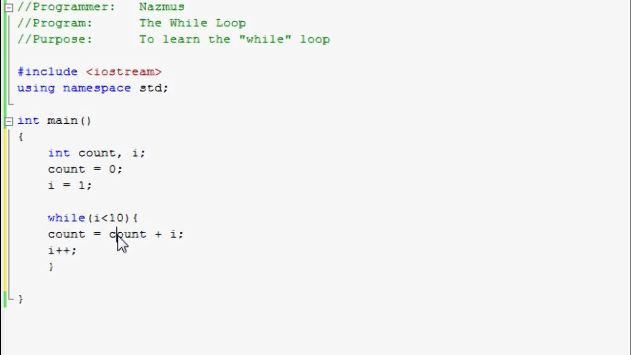 While loop in C++ with example