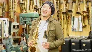 """Shinji Ide plays Yanagisawa Saxophone """"A-WO1"""" with three silver necks"""