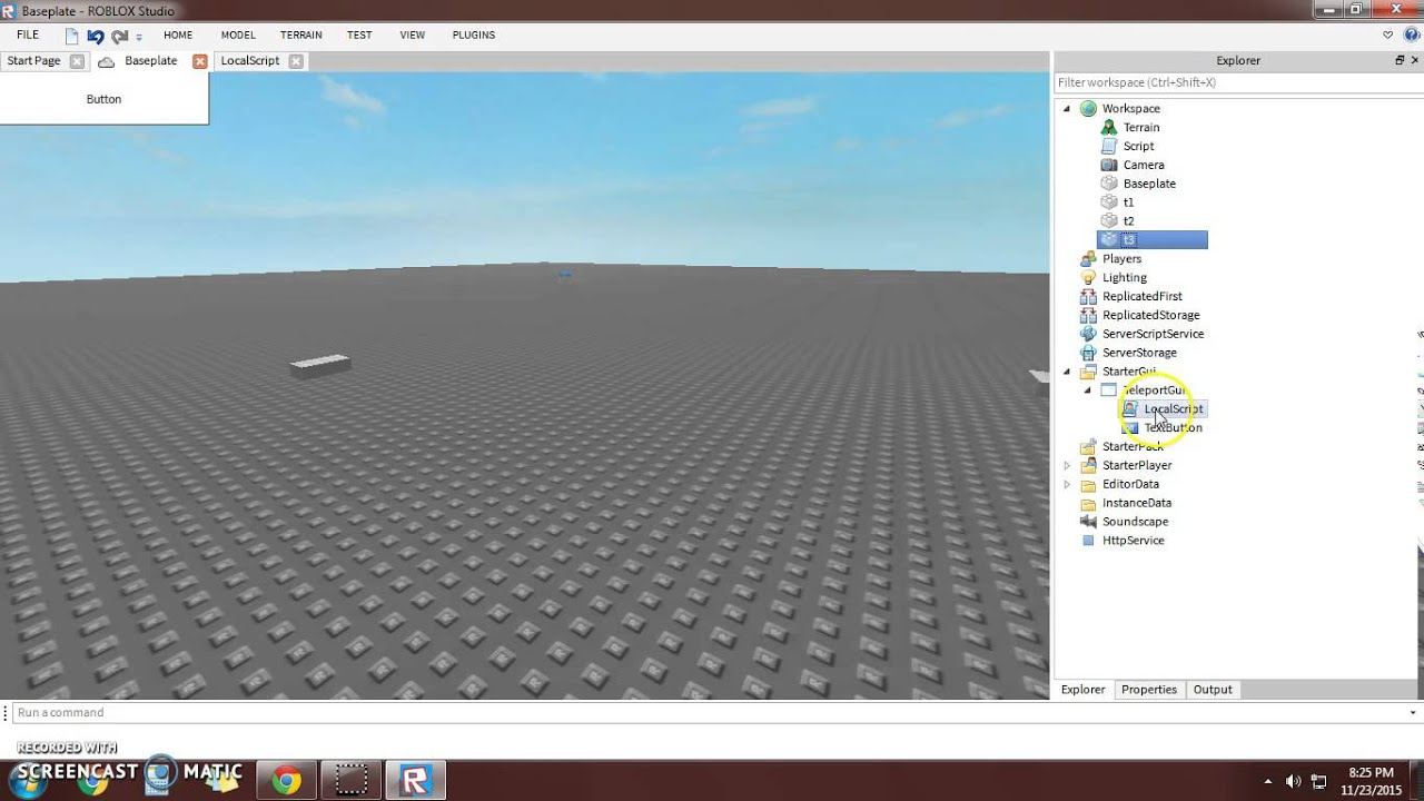how to create a teleport button on roblox studio