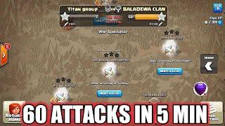 Closest Trojan war 60 Attacks in last 5 minutes of war !!  Clash of clans
