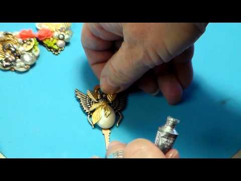 Jewelry Making:  Mini Assemblage, Pendants with Buttons, Charms and Flowers