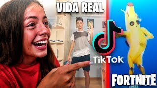 Imitating Fortnite TIK TOK with My HERMANA in REAL LIFE....