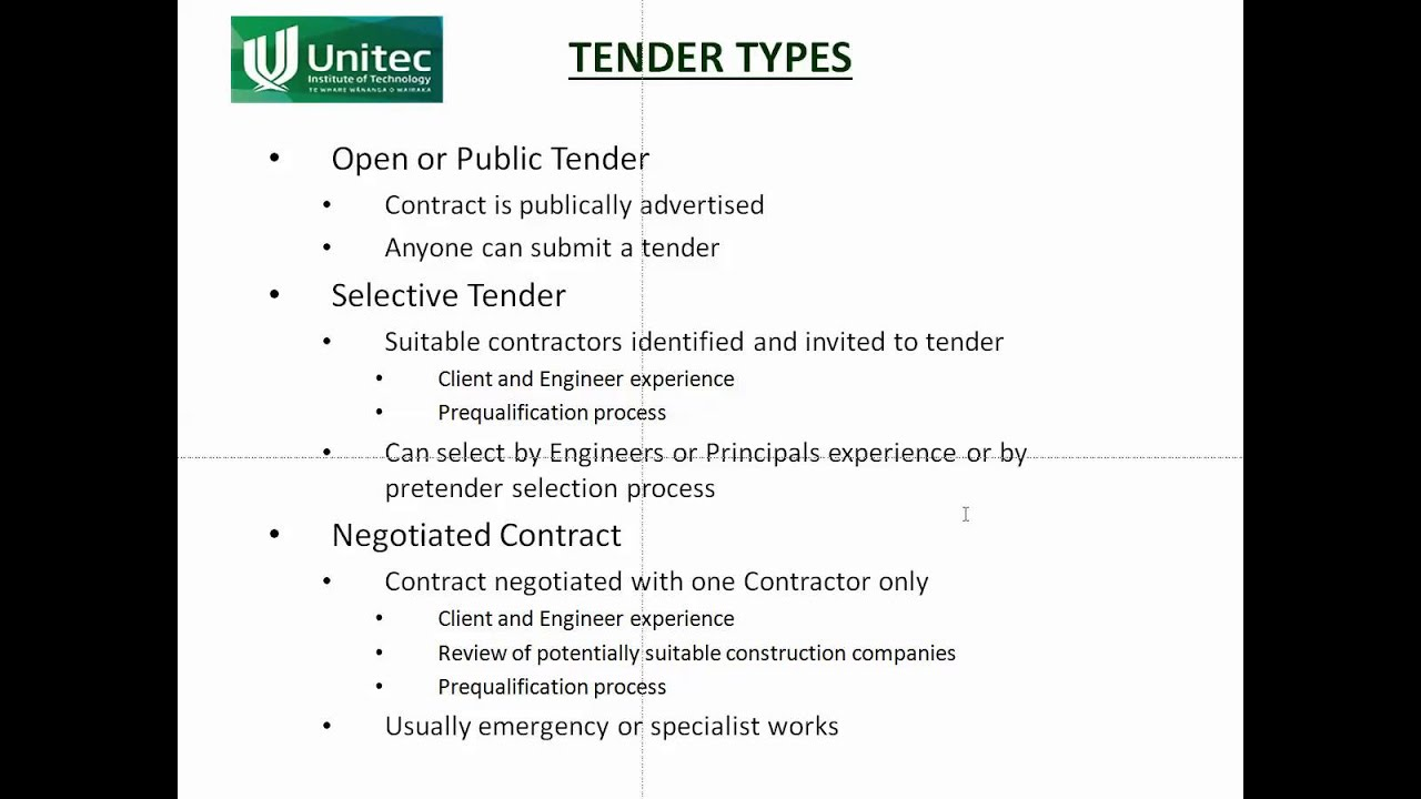 EM8b Tender Types YouTube – Types of Construction Contract