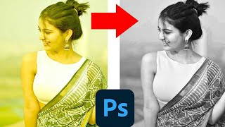 Black and white photoshop photos Editing step by step guide only 1 minutes challenge