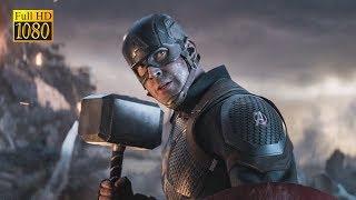 Капитан Америка поднимает молот Тора.  Мстители Финал