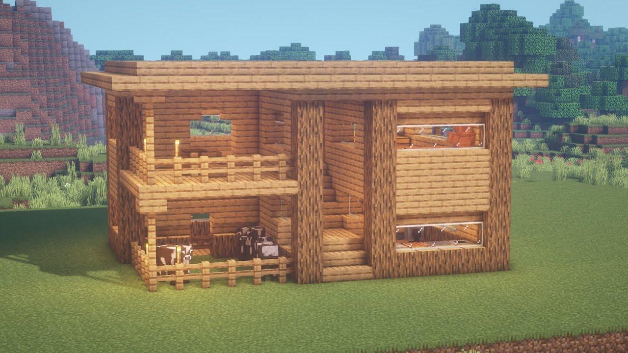 смотреть как сделать в майнкрафте маленький домик из дерева #8