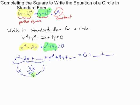 Completing The Square To Write The Equation Of A Circle In Standard