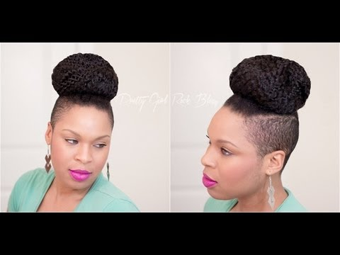 Natural Hairstyle Easy Shaved Sides & a Top Knot Tutorial (REQUESTED ...