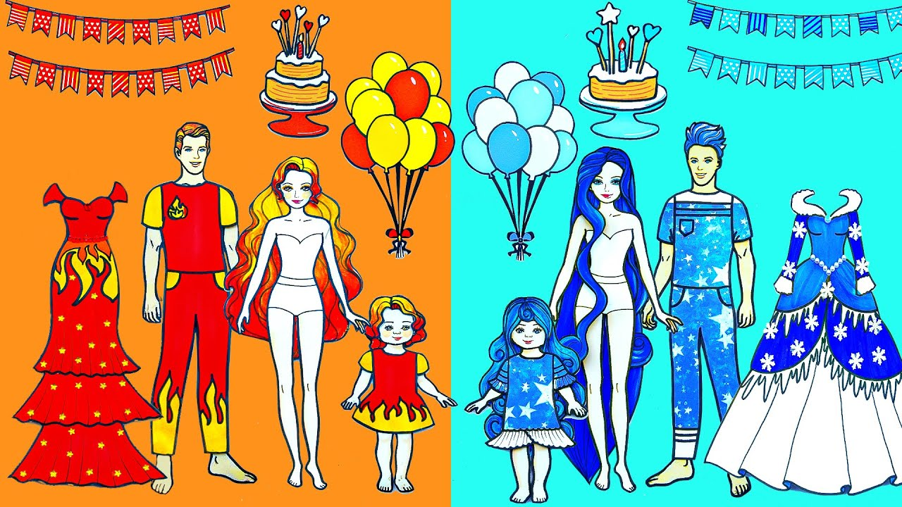 Download Paper Dolls Dress Up - Birthday Hot vs Cold Dresses Quiet Book Handmade Papercraft -Woa Doll Channel
