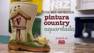 Bota em cerâmica – Pintura Country Aquarelada – Vera Portela