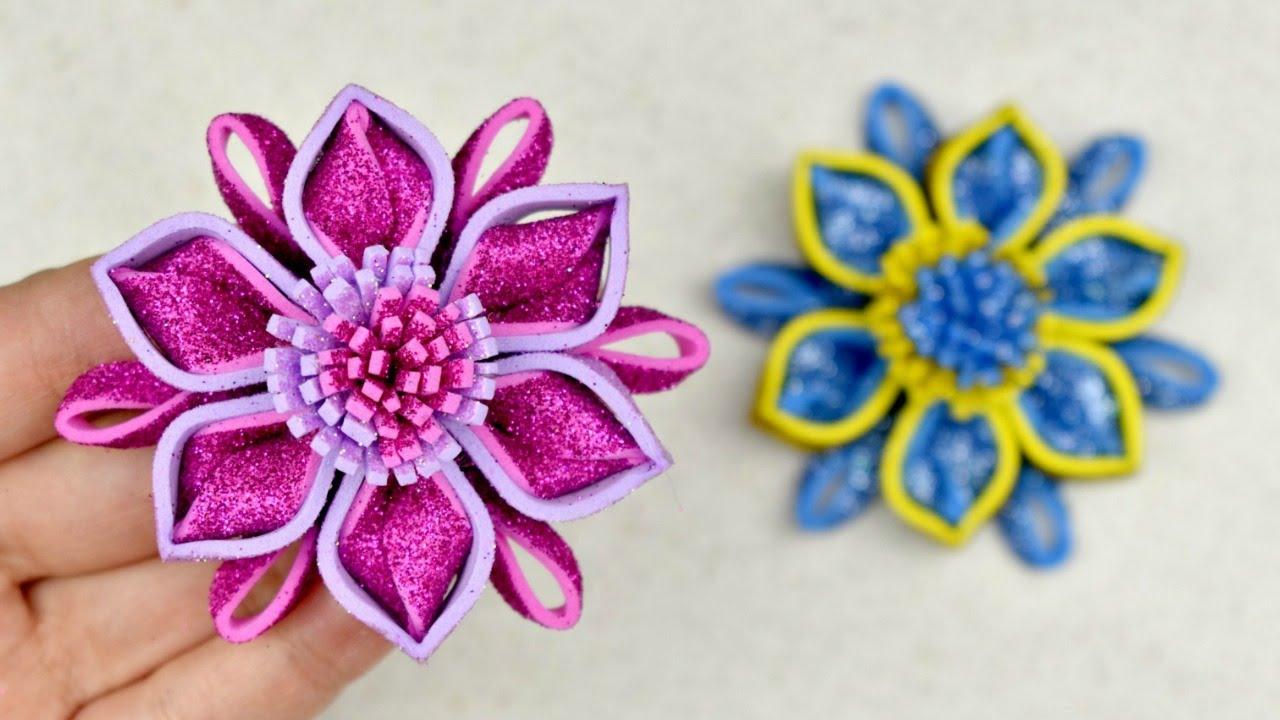 Flor con Foami Brillante - YouTube