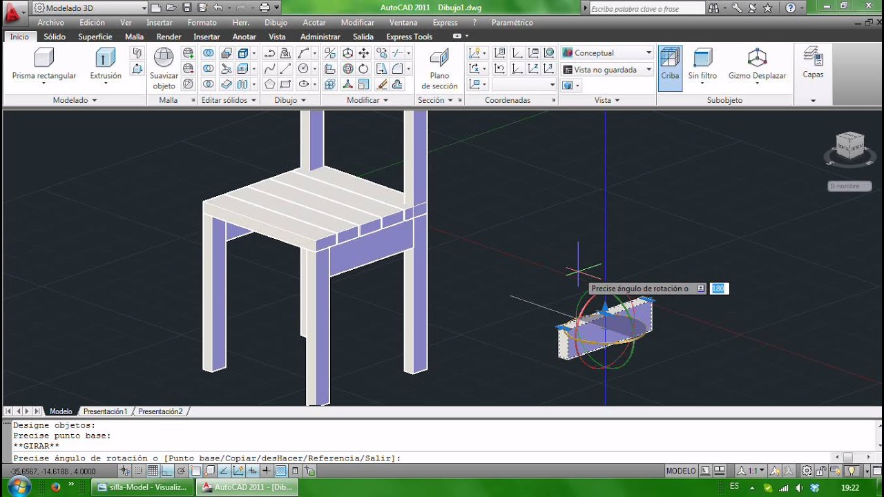 Silla en 3d youtube for Programa para crear muebles 3d