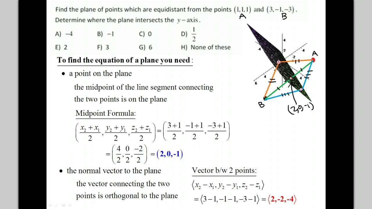Equation of plane equidistant bewtween two points - YouTube