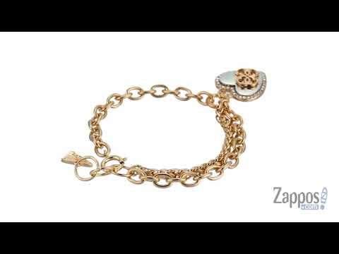 GUESS Pave Framed Heart Charm Bracelet with 4 G Logo SKU: 9066703