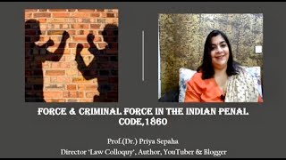 Force & Criminal force in the Indian Penal Code,1860