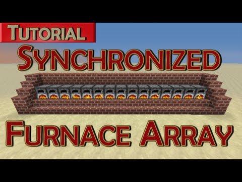 Minecraft Tutorial - Synchronized Furnace Array w/ Automatic Refueling