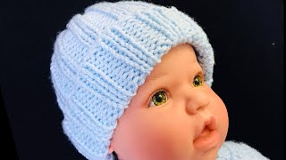 Easy Knit Baby Hat For Beginners 0-6 Months, How To Knit Hats, Crochet For Baby