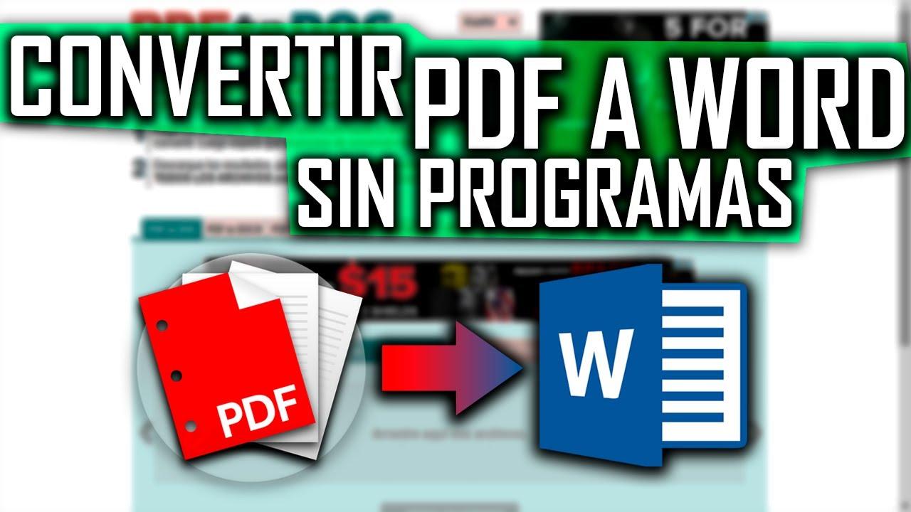 CÓMO CONVERTIR UN ARCHIVO PDF A WORD SIN PROGRAMAS - YouTube
