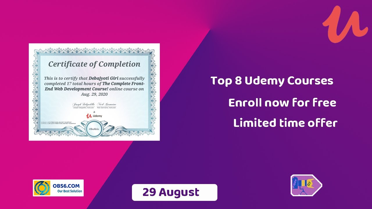 Udemy top 20 free course   Web Development Course  20 August Our Best  Solution