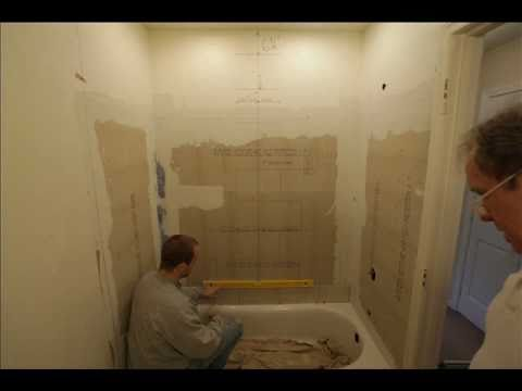 Bathroom shower niche installation tile layout recessed.wmv - YouTube