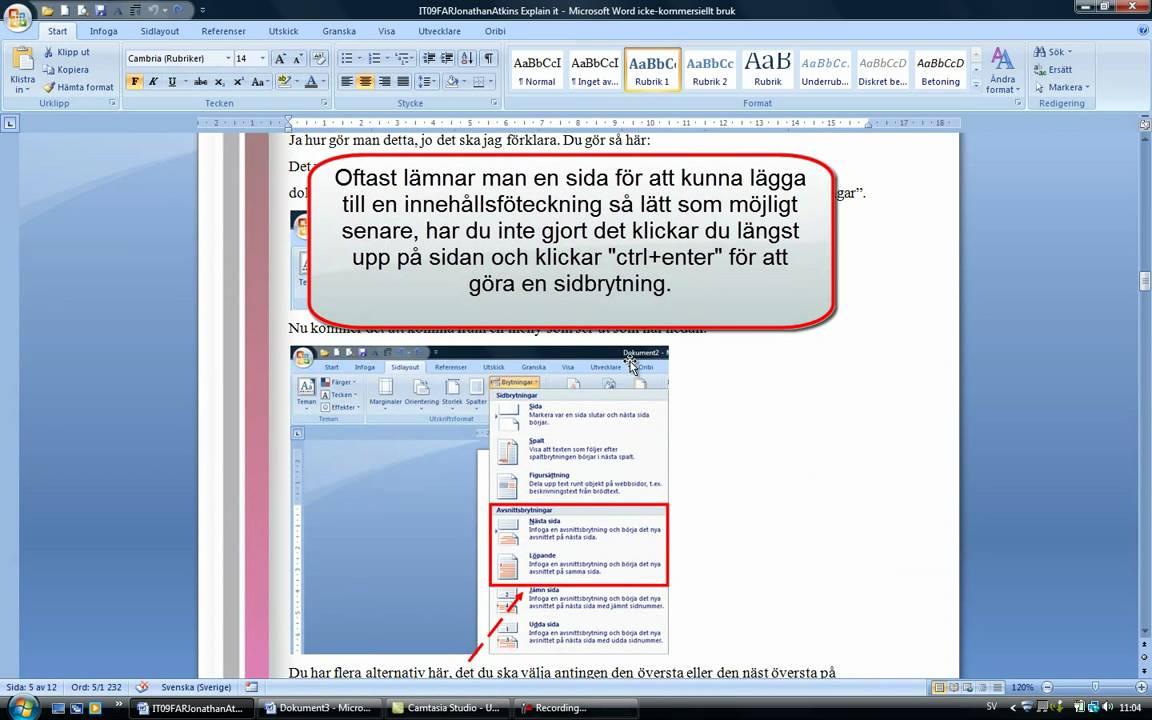 infoga innehållsförteckning i word