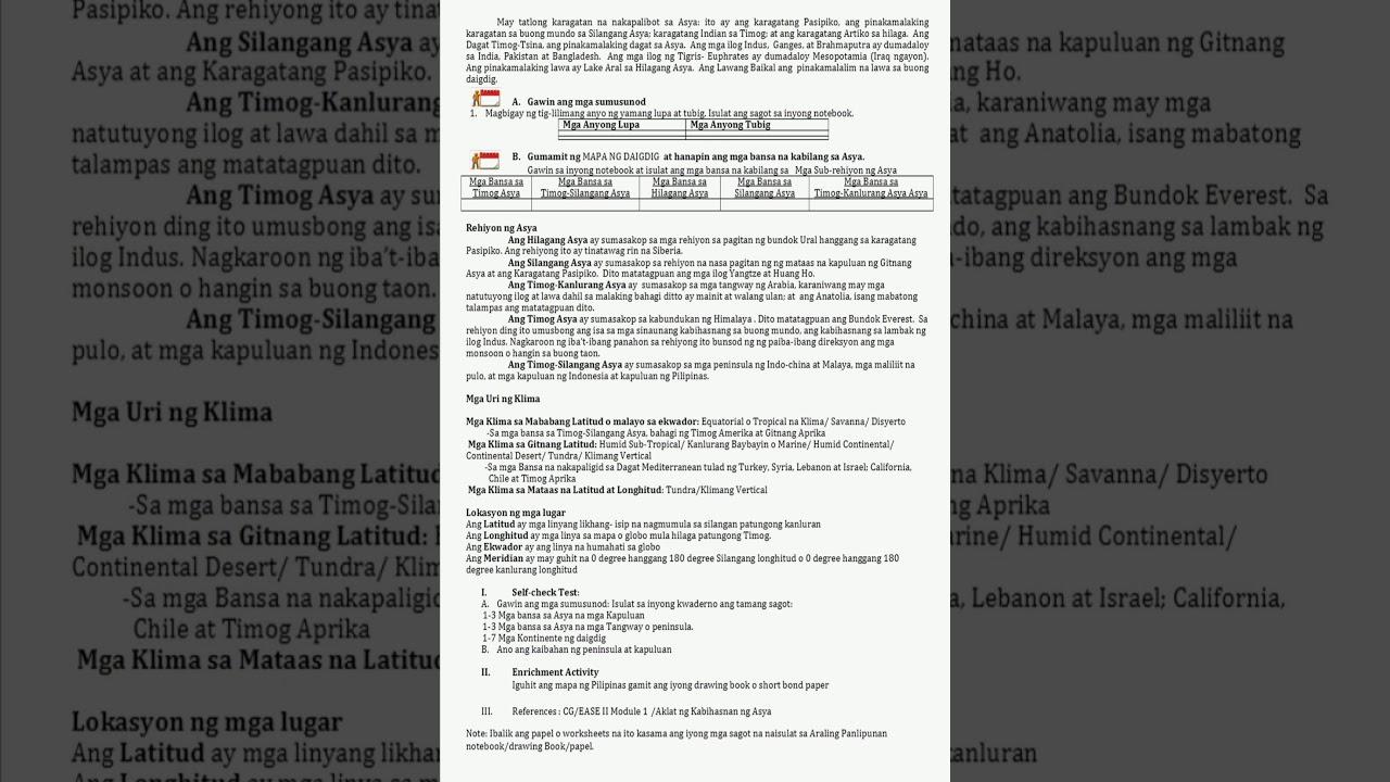small resolution of ARALING PANLIPUNAN LEARNING ACTIVITY Worksheet page 2 - YouTube