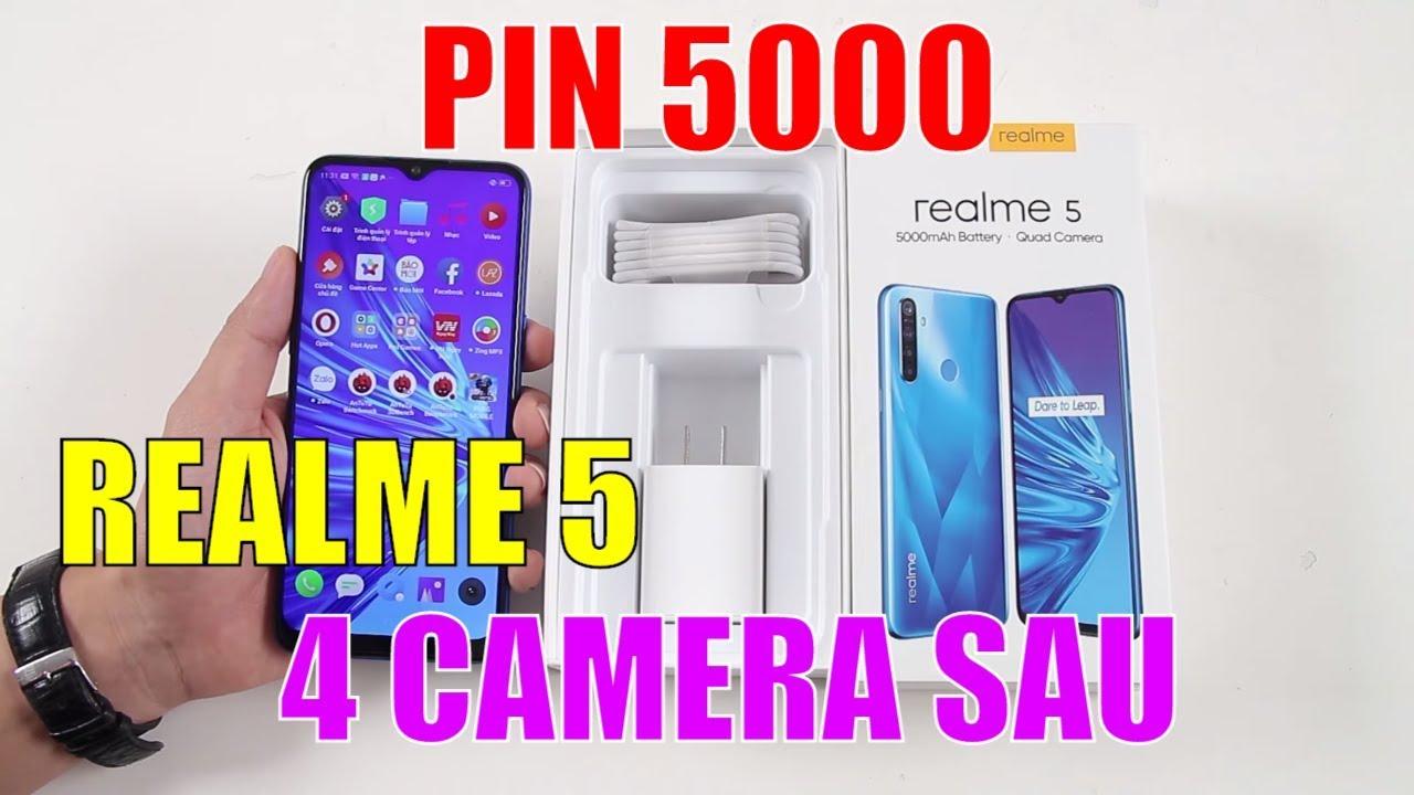 Mở hộp Realme 5 Pin 5000, có 4 camera sau GIÁ SIÊU SỐC 3 TRIỆU RƯỠI