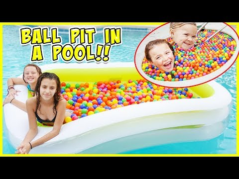WE PUT A FLOATING BALL PIT IN OUR POOL!!!