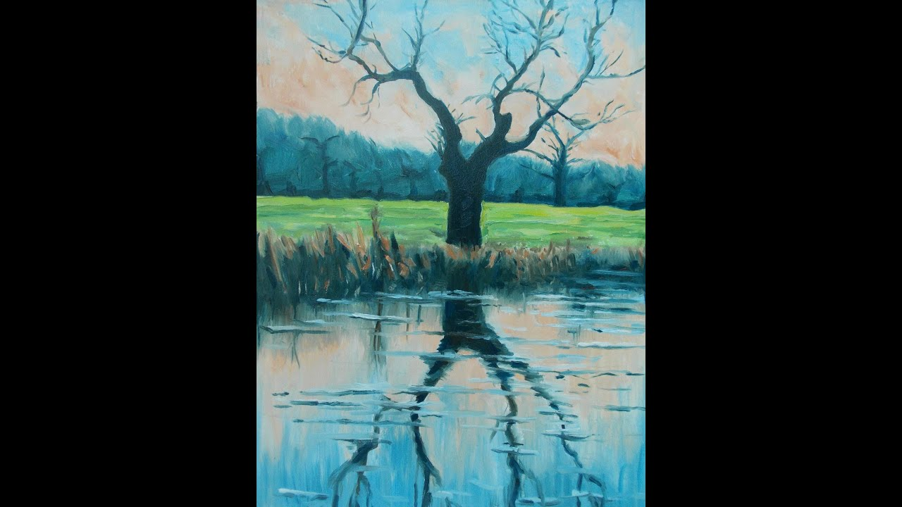 Paint a Riverside Tree Step by Step with 5 Oil Colors - YouTube