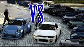 GTA 5 Online Elegy Retro Vs Comet Retro Car Meet (993 Vs GTR)