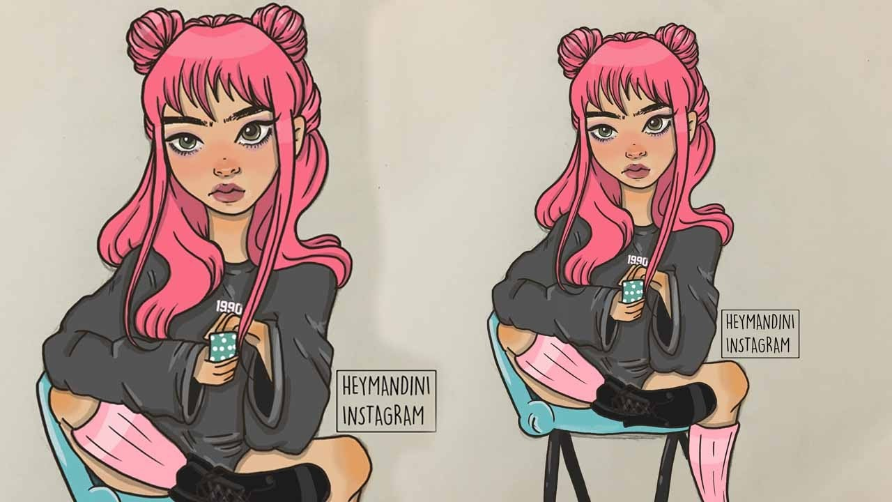 Pink Space Buns Girl Digital Speed Painting Chit Chat Youtube