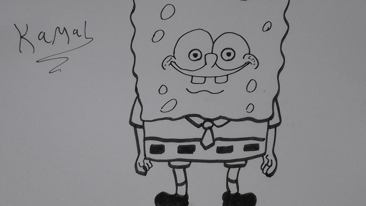 طريقة رسم سبونج بوب بقلم الخط العربي How To Draw Spongebob